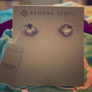 Kendra Scott Tessa Silver Earrings Clear Crystal
